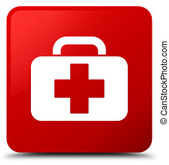 Medical bag icon red square button