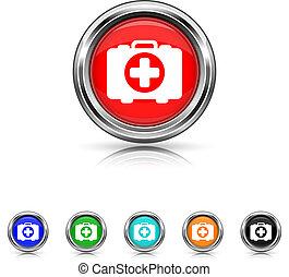 Medical bag icon - six colours set