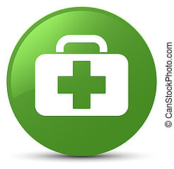 Medical bag icon soft green round button