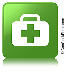 Medical bag icon soft green square button