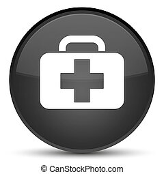 Medical bag icon special black round button