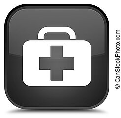Medical bag icon special black square button