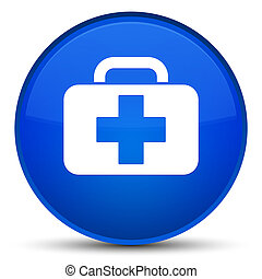 Medical bag icon special blue round button
