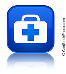 Medical bag icon special blue square button