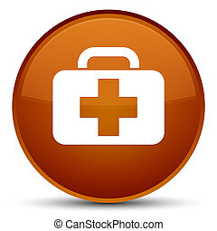Medical bag icon special brown round button