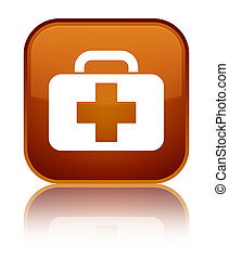 Medical bag icon special brown square button