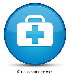 Medical bag icon special cyan blue round button