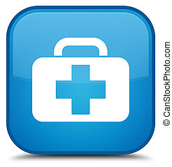 Medical bag icon special cyan blue square button