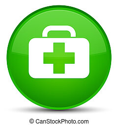 Medical bag icon special green round button