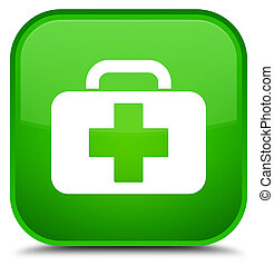 Medical bag icon special green square button