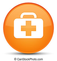 Medical bag icon special orange round button
