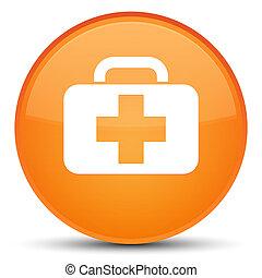 Medical bag icon special orange round button