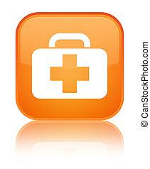 Medical bag icon special orange square button
