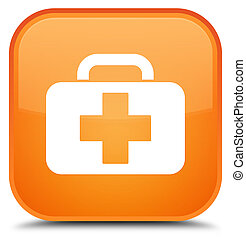 Medical bag icon special orange square button