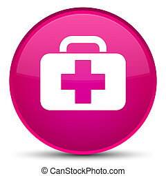 Medical bag icon special pink round button
