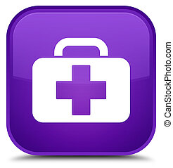 Medical bag icon special purple square button