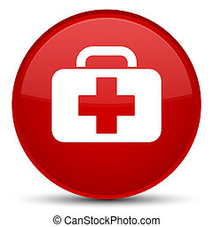 Medical bag icon special red round button
