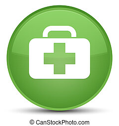 Medical bag icon special soft green round button