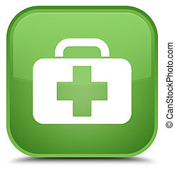 Medical bag icon special soft green square button