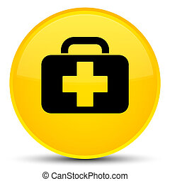 Medical bag icon special yellow round button