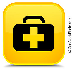 Medical bag icon special yellow square button