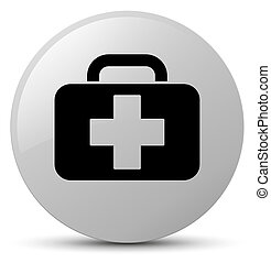 Medical bag icon white round button