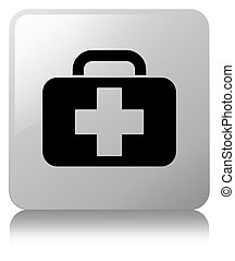 Medical bag icon white square button