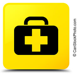 Medical bag icon yellow square button