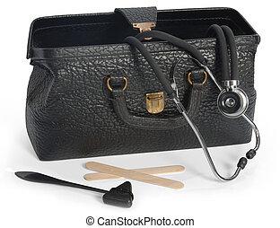 Medical Bag - Open vintage medical bag with stethescope, ...
