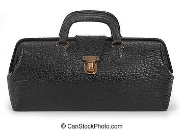 Medical Bag - Vintage, black medical bag in closed position...