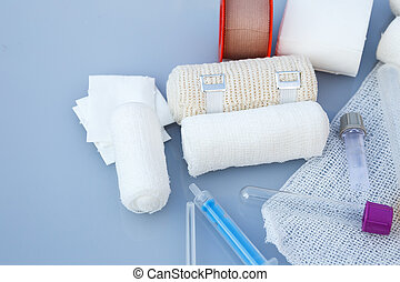 Medical bandages with sticking plaster and syringes for medical,healthcare or pharmacy themes