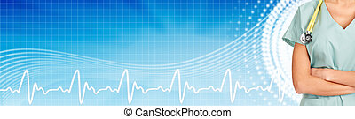 Medical banner. - Family doctor woman with stethoscope. ...