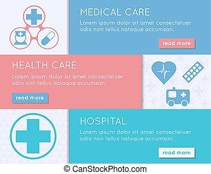 Medical banner set. Health, medical care and hospital concept.