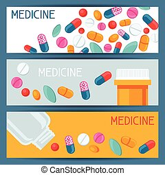Medical banners design with pills and capsules.