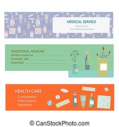 Medical banners for herbal and traditional medicine - vector illustration