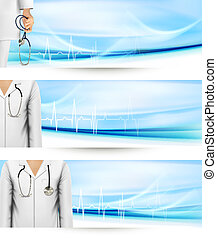 Medical banners with a doctor's lab white coat and stethoscope. Vector illustration