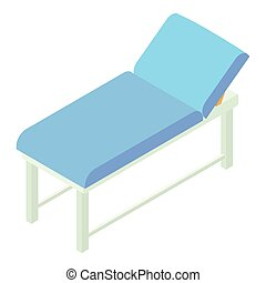Medical bed icon, isometric 3d style