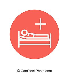 Medical bed with patient thin line icon