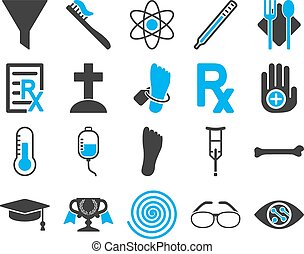 Medical bicolor icons - Medical icon set. Style: bicolor ...