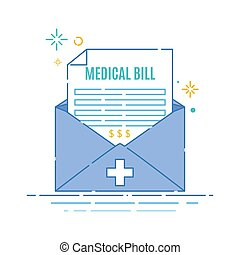Medical bill invoice receipt in an envelope