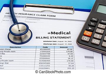 Medical bill with calculator