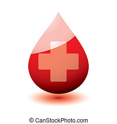 Blood droplet icon with medical cross and drop shadow