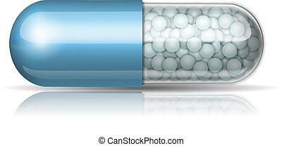 Medical blue capsule with granules
