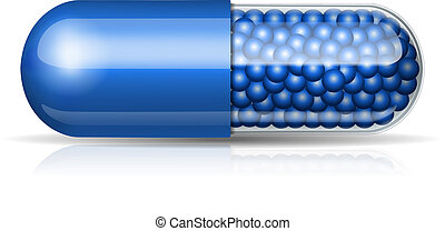 Medical blue capsule with granules on white background....