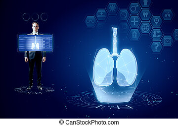 Medical blue lungs interface backdrop