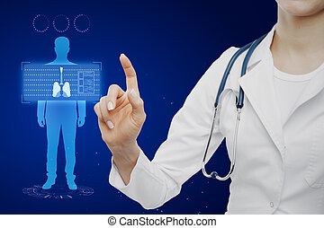 Medical blue lungs interface background