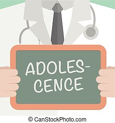 minimalistic illustration of a doctor holding a blackboard with Adolescence text, eps10 vector