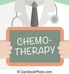 minimalistic illustration of a doctor holding a blackboard with Chemotherapy text, eps10 vector