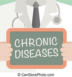minimalistic illustration of a doctor holding a blackboard with Chronic Diseases text, eps10 vector