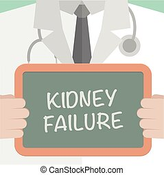 minimalistic illustration of a doctor holding a blackboard with Kidney Failure text, eps10 vector